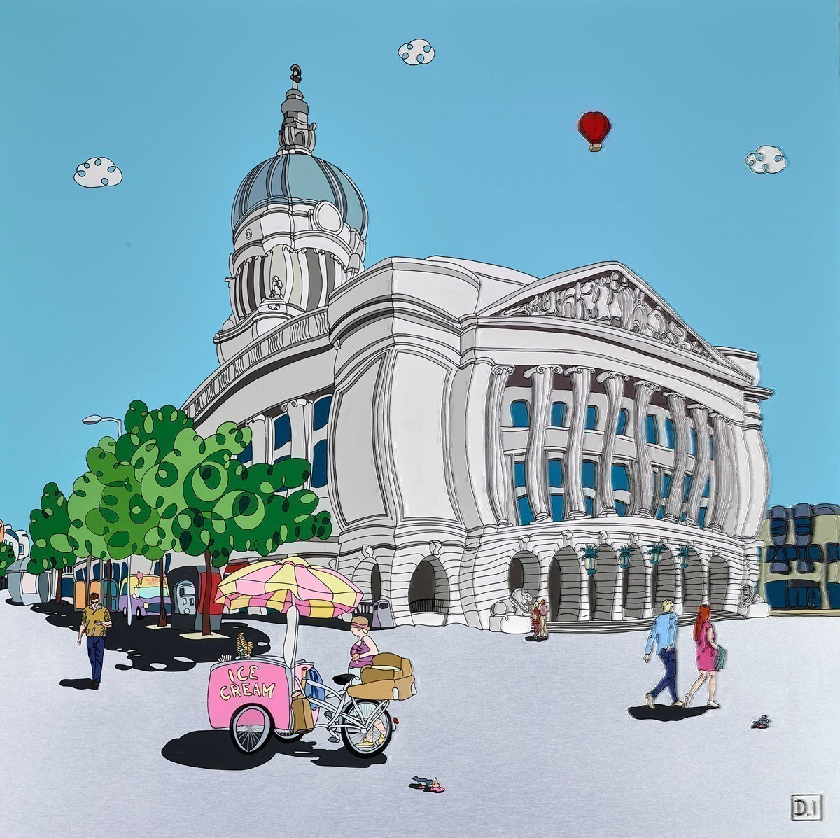Nottingham TownHall Icecream stand by Dylan Izaak -  sized 32x32 inches. Available from Whitewall Galleries
